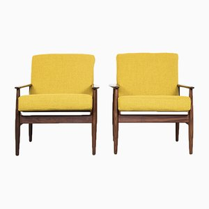 Mid-Century Danish Solid Teak Easy Chairs, 1960s, Set of 2