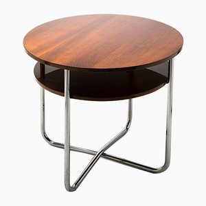 Vintage Bauhaus Chromed Tubular Steel Side Table from Mücke Melder