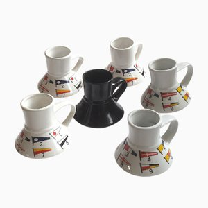 Nautical Flags Mugs from Feltman-Langer, 1980s, Set of 6