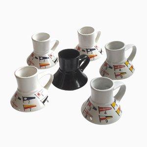 Tasses avec Drapeaux Nautiques de Feltman-Langer, 1980s, Set de 6