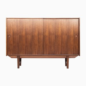 Mid-Century Danish Teak Highboard with Sliding Doors, 1960s