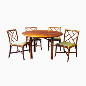 Bamboo Dining Table & 4 Chairs Set from Maugrion, 1970s