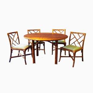 Table et 4 Chaises de Salle à Manger en Bambou de Maugrion, 1970s