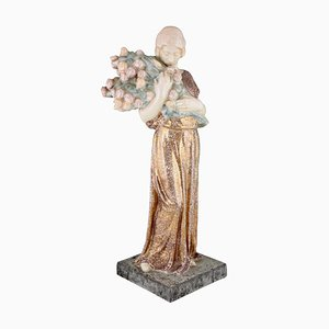 Art Deco French Ceramic Woman with Flowers Sculpture by Charles Muller for Boulogne sur Seine, 1920s