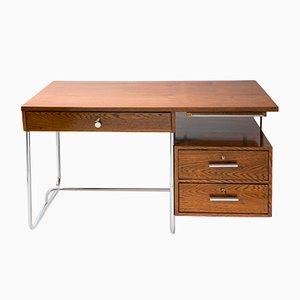 Vintage Bauhaus Schreibtisch mit verchromtem Stahrohrgestell von K.E. Ort für Hynek Gottwald