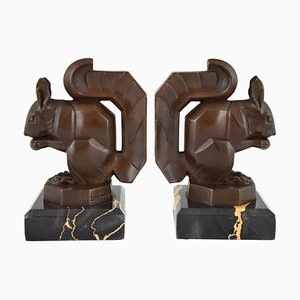 Art Deco French Squirrel Bookends by Max Le Verrier, 1930s, Set of 2