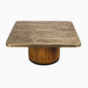 Square Vintage Brutalist Rosewood & Etched Brass Coffee Table