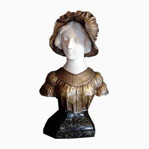 Sculpture Art Nouveau Antique en Bronze, Albâtre et Marbre par Afortunato Gory