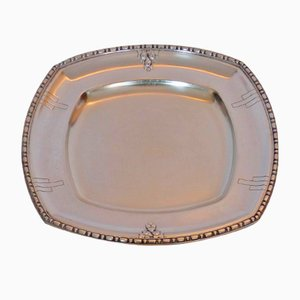 Vintage Silvered Metal Tray from Roux-Marquiand, 1920s
