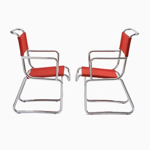 Butacas estilo Bauhaus vintage tubulares de acero cromado de K.E. Ort para Hynek Gottwald. Juego de 2