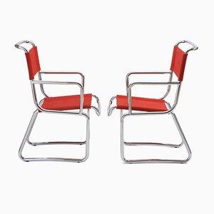 Vintage Bauhaus Armlehnstühle mit verchromtem Stahlrohrgestell von K.E. Ort für Hynek Gottwald, 2er Set