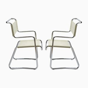 Vintage Bauhaus-Style Tubular Chromed Steel Armchairs by K.E. Ort for Hynek Gottwald, Set of 2