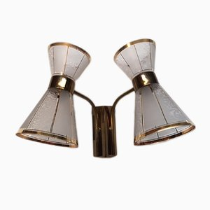 Glass & Gilt Brass Diabolo Sconces, 1950s, Set of 2