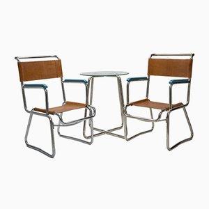 Mesa de centro estilo Bauhaus vintage tubular de acero cromado y dos butacas de K.E. Ort para Hynek Gottwald