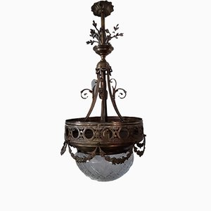 Antique Art Nouveau German Brass, Bronze & Cut Glass Ceiling Lamp