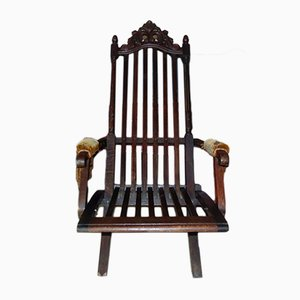 Antique Art Nouveau Wooden Deck Chair
