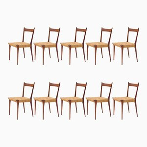 Belgian Dining Chairs by Alfred Hendrickx, 1950s, Set of 10