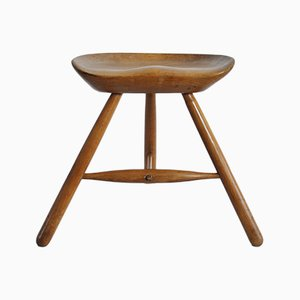 Danish Solid Beech Stool by Arne Hovmand-Olsen, 1950s
