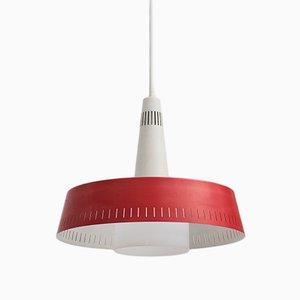 Vintage Deckenlampe in Rot & Weiß