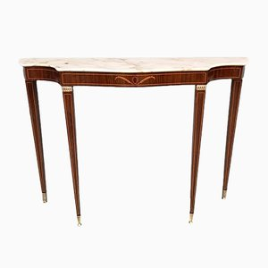 Vintage Mahogany & Pink Marble Console Table by Paolo Buffa, 1950s