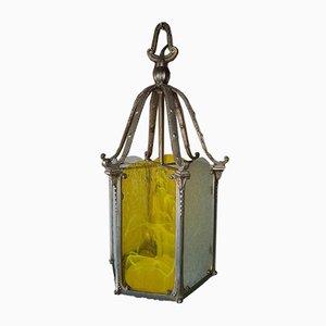 Farol vintage de bronce plateado, años 30