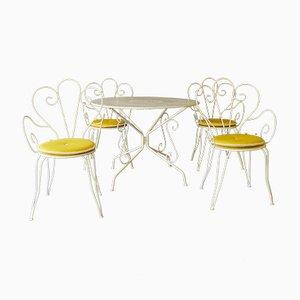 Table et 4 Chaises de Jardin Mid-Century