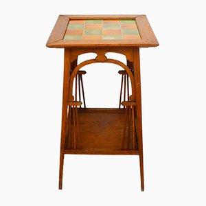 Antique Art Nouveau Wood & Ceramic Tile Side Table