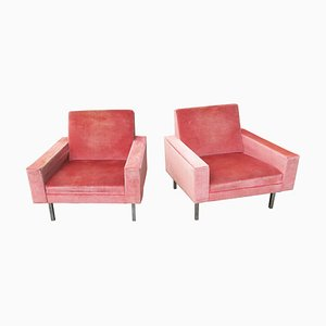Vintage Salmon Pink Lounge Chairs, 1950s