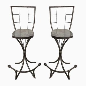 Industrial Metal Side Chairs, 1950s, Set of 2