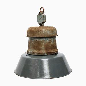 Lampe à Suspension Industrielle Vintage en Émail Bleu et Fonte, 1950s