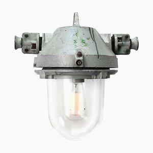 Lampe à Suspension Industrielle Vintage en Fonte Grise et Verre, 1950s