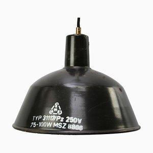 Industrielle schwarze Vintage Fabrik-Hängelampe aus Emaille, 1950er