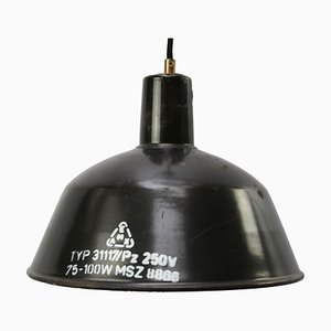 Vintage Industrial Black Enamel Factory Pendant Lamp, 1950s