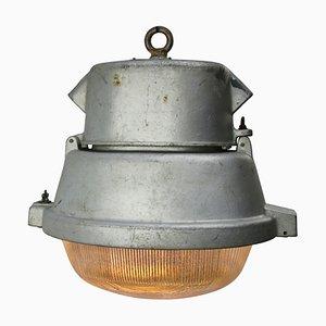 Réverbère Ovale Industriel Vintage en Aluminium Gris, 1950s
