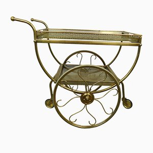Swedish Brass Serving Bar Cart by Josef Frank for Svenskt Tenn, 1950s