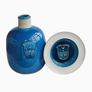 Blaues Mid-Century Steingut Vase & Schale von Kähler für HAK Keramik, 1970er