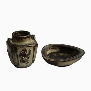 Mid-Century Danish Stoneware Bowl & Vase Set by Bode Willumsen for Royal Copenhagen, 1960s