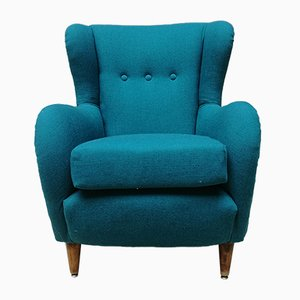Italian Teal Cotton & Beach Lounge Chair, 1960s