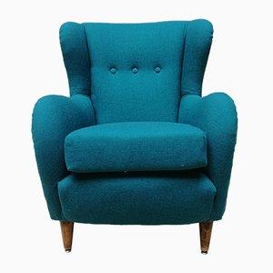 Italian Teal Cotton & Beach Lounge Chair, 1960s