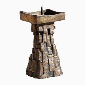 Large Mid-Century Brutalist German Bronze Candleholder, 1960s