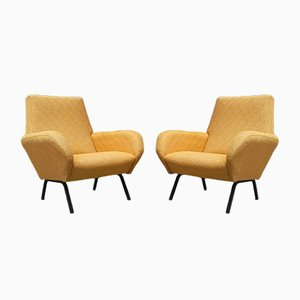 Yellow Cotton & Metal Lounge Chairs, 1950s, Set of 2