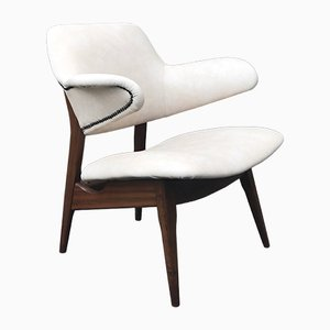 White Leather Armchair by Louis van Teeffelen for WéBé, 1950s