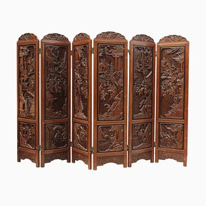Vintage Japanese Carved Wood Room Divider, 1950s
