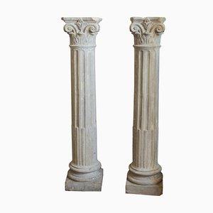 Vintage Italian Concrete Columns, 1950s, Set of 2
