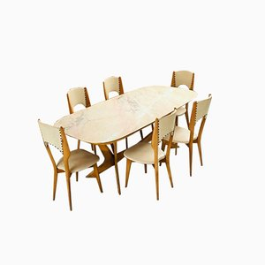 Tavolo da pranzo vintage con sei sedie di Osvaldo Borsani, anni '50, set di 6