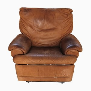 Vintage Italian Brown Leather Club Chair, 1980s