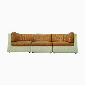 Italian Patchwork Leather Modular Sofa Set, 1970s