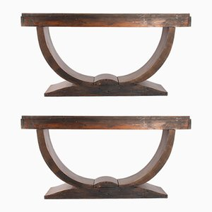 Art Deco Rosewood Console Tables, 1930s, Set of 2