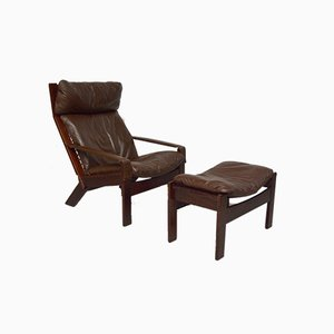 Vintage Norwegian Leather Lounge Chair & Ottoman from Westnofa, 1960s