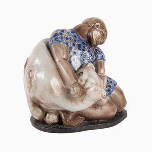 Emaillierte Keramikskulptur von Maurice Gensoli, 1930er
